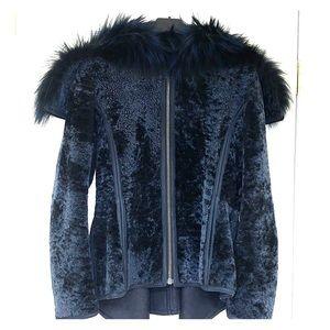 NWOT Fendi Shearling Coat in Dark Blue